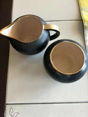 Vintage V & B Villeroy and Boch Luxembourg Creamer and Sugar - Black and Gold