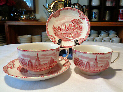 Johnson Brothers OLD BRITAIN CASTLES PINK (MADE IN ENGLAND) Cup & Saucer 2 SETS