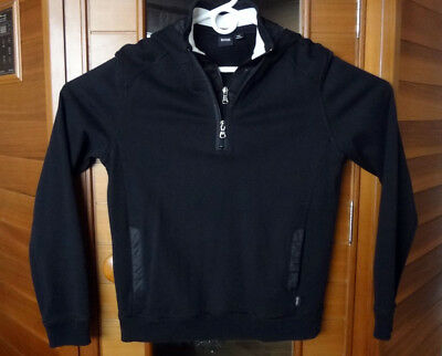 60a6197ec HUGO BOSS MEN'S Half Zip Sweater Pullover Hoodie Size M Black ...