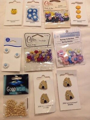 JOB LOT OF BUTTONS. 10 Packs. Grab A Bargain! Beading, Embellishment