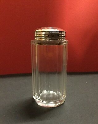 Solid Silver Lidded cut glass jar, Hallmarked LONDON 1910