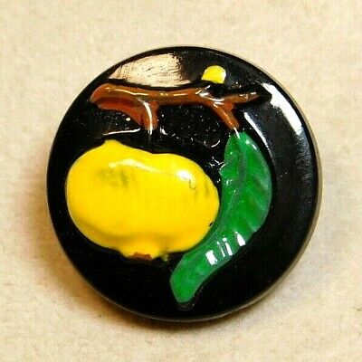 Antique Vintage German Black Glass Button  Hand Painted Lemon Fruit M2