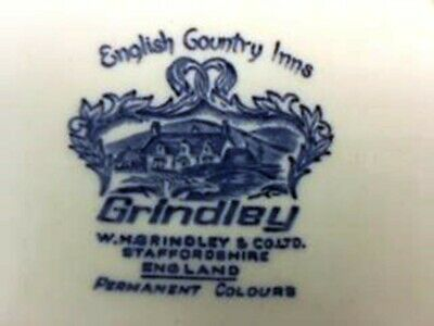 Vintage Grindley English Country Inns Blue & White Dinner Plate The Lambert Arms