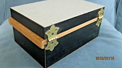 Handcrafted Jewelry Curio Box Grey Black Wood Exterior Wood Interior Signed