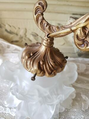 Stunning Antique French Gilt Bronzed Ormolu Wall Light Sconce,Opaque Rose Shades