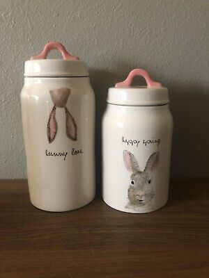 New Rae Dunn Easter - Happy Spring & Bunny Love Canisters Artisan Collection