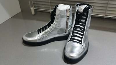 51cc9ec28fa NEW Gucci Men s Metallic Silver Leather High Top Sneakers Shoes Gucci size 7