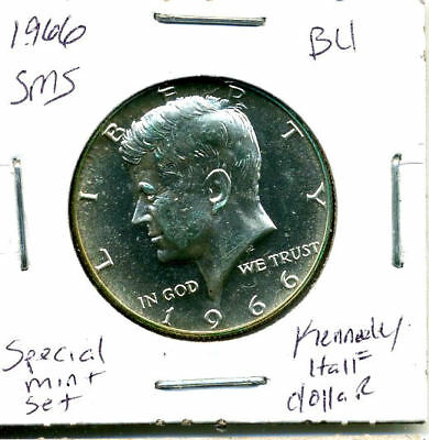 1966 P SMS SILVER CH BU Kennedy Half Dollar Brilliant Uncirculated Coin U.S#3087