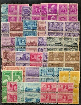 31 Different Vintage Mint NH 3 Cent  United States Commemorative Blocks of 4