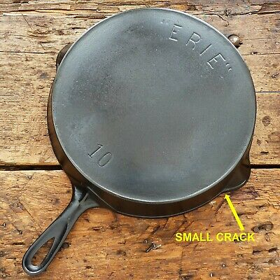 Antique GRISWOLD Cast Iron SKILLET Frying Pan # 10 ERIE 1st Series - Ironspoon