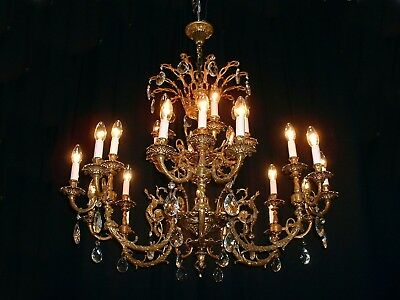 Vintage large French bronze 12 arm 24 lights Cherub crystal chandelier France