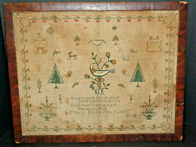 Super Sweet 210 Yr. Old Signed 1810 Sampler With Verso, Houses, Animals, & Trees