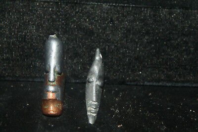 """Pair Antique Copper Smelter African Lost Wax or Sandcast Pendants Masks 1-1/4"""""""