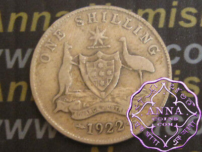 Australia 1922 George V Shilling X1, Average Circulated Condition