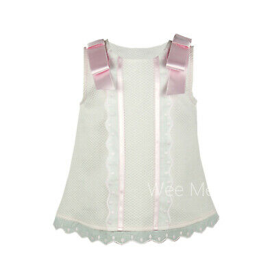 *SALE* Gorgeous Baby Girl Pink Spanish Dress Shoulder Bow Lace Trim