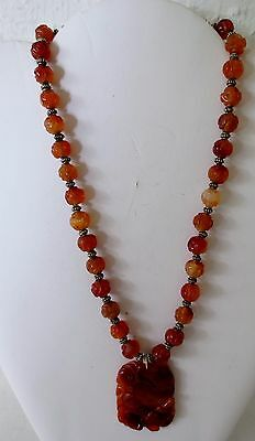 Antique Chinese Carved Orange Carnelian Agate Bead Necklace with pendant- 17""