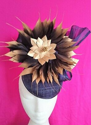 Navy Blue Gold Feathers Leather Flower Hat Silk Loops Fascinator Races Wedding