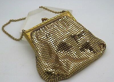 Vintage Whiting and Davis Co Gold Tone Mesh Purse Evening Bag Made In USA E