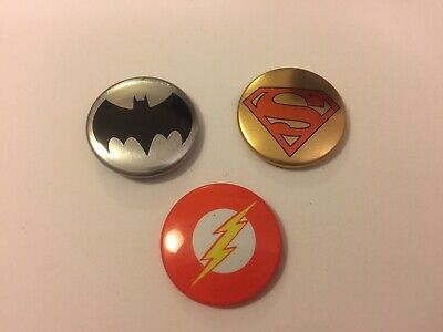 "DC Superheroes Logo 1"" Pinback Pins Button Superman Batman Flash Set"
