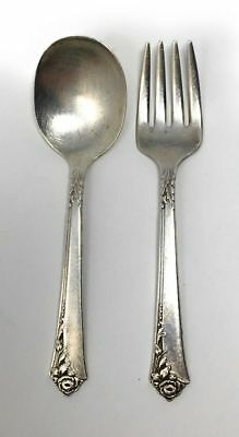 GIFT QUALITY! Oneida Heirloom Sterling Silver Damask Rose Baby Spoon /& Fork Set