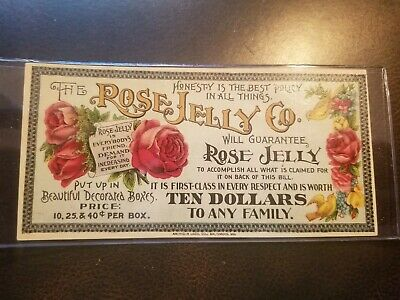 1885 Rose Jelly Co Quack Medicine Trade Card Cures Deafness Poison Frederick Md