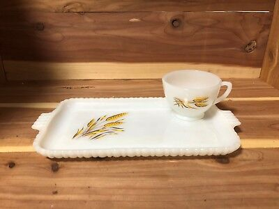 Fireking Milk Glass Vintage Wheat design snack tray with cup pre-owned