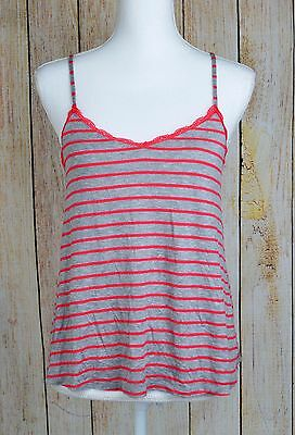 Ultra Flirt Women's Lace Trim Sleeveless Swing Cami Tank Top Red Gray Medium M