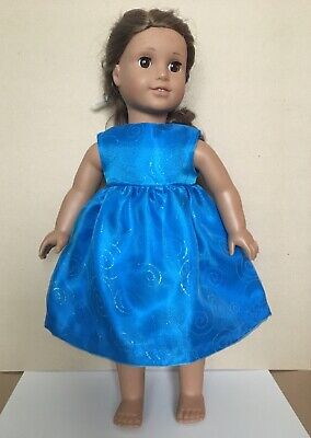 "DOLL CLOTHES FIT AMERICAN GIRL AND ANY 18"" DOLL - HANDMADE, Blue satin dress"