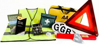AA Euro Travel Kit PLUS Warning Triangle GB Plate Bulb Kit Jacket First Aid
