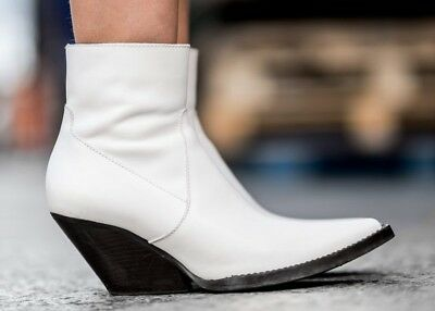 c509efb77ce ZARA SS18 LEATHER Cowboy Western Ankle Boots White Size Uk 4/Eu 37 ...