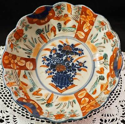 Early Japanese Imari Porcelain Bowl with Flowers Bouquet Blue Orange Red Green