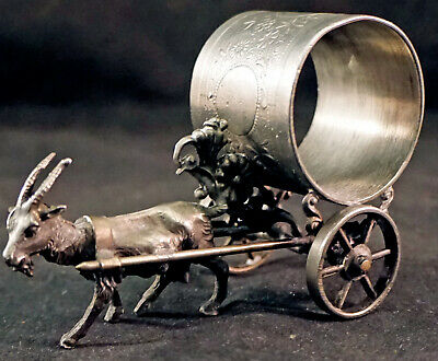 Victorian Figural Silver Plated Napkin Ring Goat Pulling a Cart Wheels Roll
