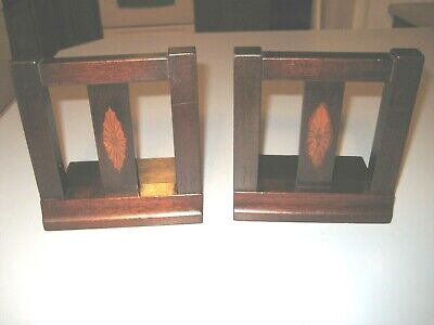 Beautiful Pair vintage Arts & Crafts Style Wooden BOOK ENDS w/Center Inlay