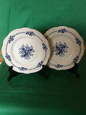 "J&G Meakin Ironstone Dresden Blue 2 Luncheon  Plates Blue Willow Roses 9"" Across"