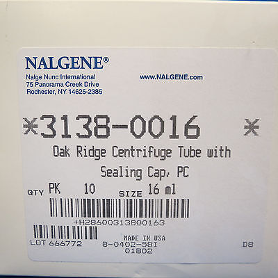 Pk/10 Nalgene 16mL Oak Ridge PC Centrifuge Tubes  #3138-0016