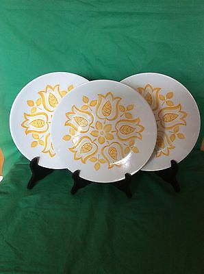 Set Of 3 Dinner Plates J.& G.meakin Tulip Time Gold Ironstone Hanley England