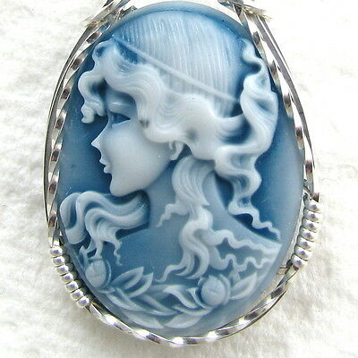 Grecian Goddess Cameo Pendant .925 Sterling Silver Jewelry Blue Resin