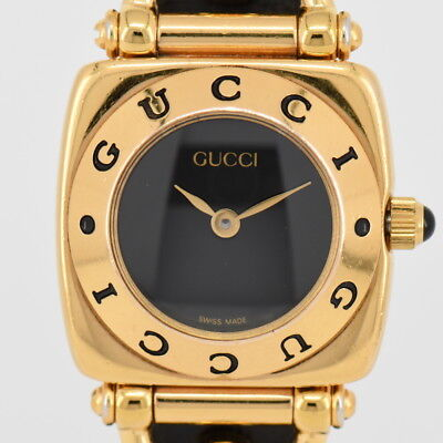 594eedac1ae AUTH GUCCI 6400L Gold Plated Black Dial Quartz Women s Watch K 75676 ...