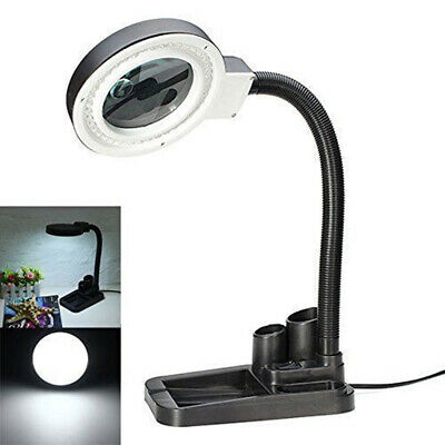 40 LED Flexible Magnifying Glass Desk Lamp With 5X 10X Magnifier Repair Tools