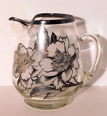 Sterling Silver Floral Overlay Glass Pitcher w/ Ice Lip 8''
