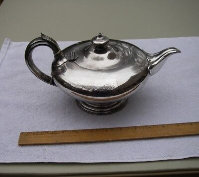 Good 1820s OLD SHEFFIELD PLATE Teapot-Lamp Form-INSET MONOGRAM-NR