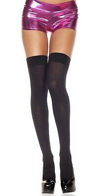 NEW Music Legs 4745 Opaque Black Thigh High Stockings One Size Fits Most