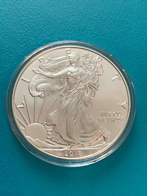 One 2018 American Silver Eagle Coin One Troy oz. .999 Fine