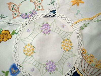 5 x Vintage Hand Embroidered Bulk Lot Doilies -Pansy/Butterfly++ Usable or Craft