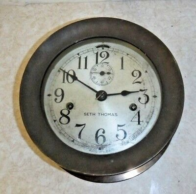Antique Seth Thomas U.s. Deck Clock Double Spring Ship's Clock Working With Key