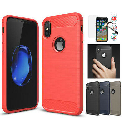 Carbon Fibre Soft TPU Case Silicone Cover For iPhone XS Max XR X 8 7 6S Plus 5S