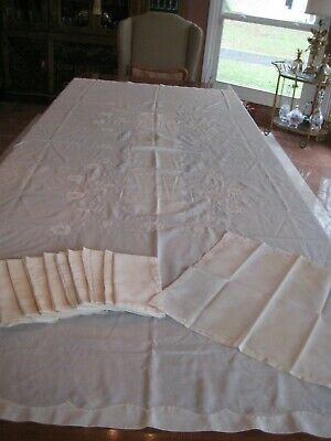 Vtg Banquet Organdy Madeira Embroidered Tablecloth 12 Napkins Applique 102 x 65