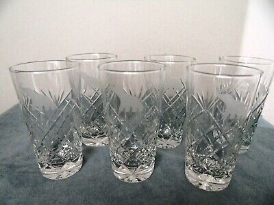 Stunning Set Of Six Crystal Glasses Etched Elephant Motif On Front 8 Oz.
