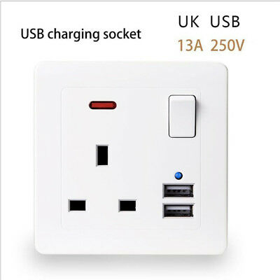 Plastic Single Wall Socket Plug Outlet Switch With 2 Usb Port 13A White Uk Sold
