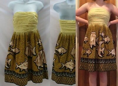 4ad8d2f2ef43 Anthropologie Baxter Bay Fish Dress By Vanessa Virginia Size 2 Yellow Cotton